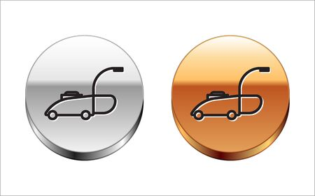 Black line Lawn mower icon isolated on white background. Lawn mower cutting grass. Silver-gold circle button. Vector Illustration