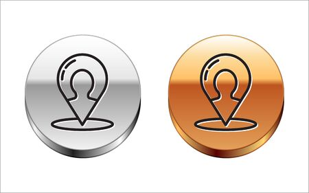 Black line Map marker with a silhouette of a person icon isolated on white background. GPS location symbol. Silver-gold circle button. Vector Illustration