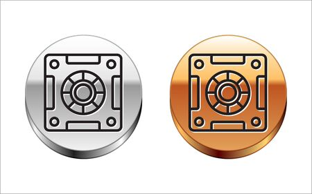 Black line Safe icon isolated on white background. The door safe a bank vault with a combination lock. Reliable Data Protection. Silver-gold circle button. Vector Illustration