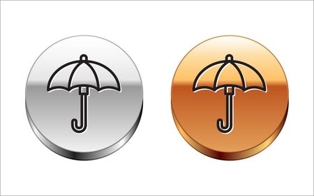 Black line Umbrella icon isolated on white background. Waterproof icon. Protection, safety, security concept. Water resistant symbol. Silver-gold circle button. Vector Illustration