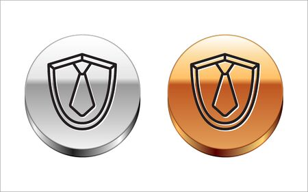 Black line Tie icon isolated on white background. Necktie and neckcloth symbol. Silver-gold circle button. Vector Illustration Vectores