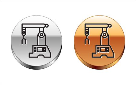 Black line Assembly line icon isolated on white background. Automatic production conveyor. Robotic industry concept. Silver-gold circle button. Vector Illustration