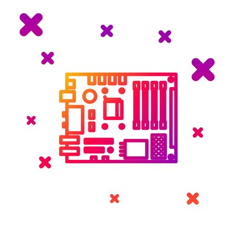 Color line Electronic computer components motherboard digital chip integrated science icon isolated on white background. Circuit board. Gradient random dynamic shapes. Vector Illustration