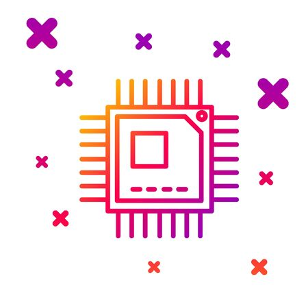 Color line Computer processor with microcircuits CPU icon isolated on white background. Chip or cpu with circuit board sign. Micro processor. Gradient random dynamic shapes. Vector Illustration