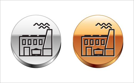 Black line Coal power plant and factory icon isolated on white background. Energy industrial concept. Coal power station. Silver-gold circle button. Vector Illustration