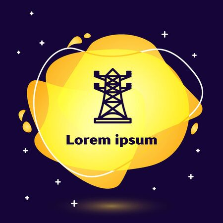 Black line Electric tower used to support an overhead power line icon isolated on blue background. High voltage power pole line. Abstract banner with liquid shapes. Vector Illustration