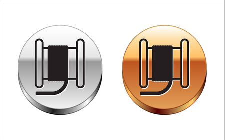 Black line Wire electric cable on a reel or drum icon isolated on white background. Silver-gold circle button. Vector Illustration