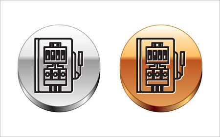 Black line Electrical panel icon isolated on white background. Silver-gold circle button. Vector Illustration