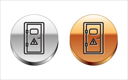 Black line Electrical cabinet icon isolated on white background. Silver-gold circle button. Vector Illustration