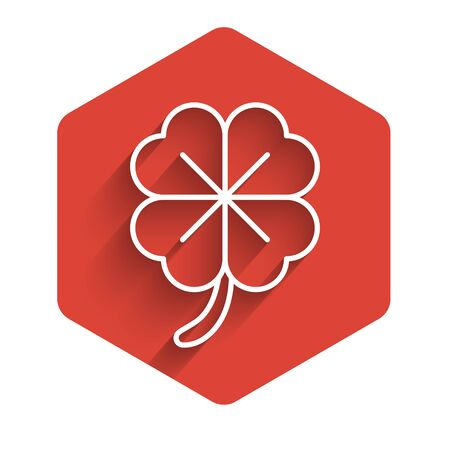White line Four leaf clover icon isolated with long shadow. Happy Saint Patrick day. Red hexagon button. Vector Illustration Illustration