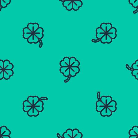 Blue line Four leaf clover icon isolated seamless pattern on green background. Happy Saint Patrick day. Vector Illustration