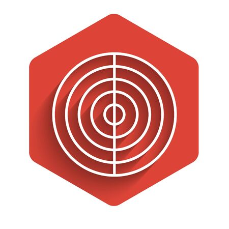 White line Earth structure icon isolated with long shadow. Geophysics concept with earth core and section layers earth. Red hexagon button. Vector Illustration
