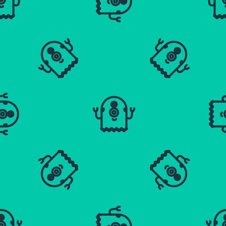 Blue line Alien icon isolated seamless pattern on green background. Extraterrestrial alien face or head symbol. Vector Illustration