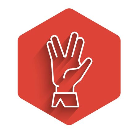 White line Vulcan salute icon isolated with long shadow. Hand with vulcan greet. Spock symbol. Red hexagon button. Vector Illustration