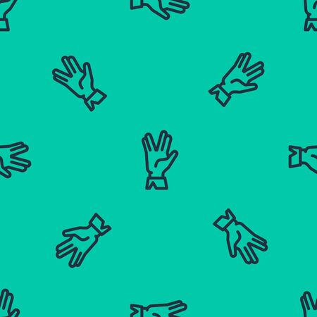 Blue line Vulcan salute icon isolated seamless pattern on green background. Hand with vulcan greet. Spock symbol. Vector Illustration Ilustración de vector