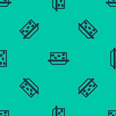 Blue line Nougat with nuts icon isolated seamless pattern on green background. Vector Illustration