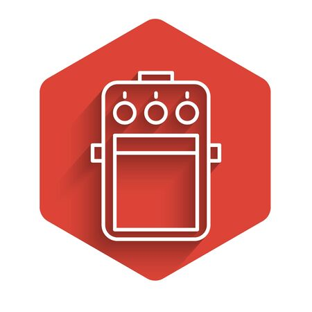 White line Guitar pedal icon isolated with long shadow. Musical equipment. Red hexagon button. Vector Illustration