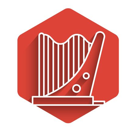White line Harp icon isolated with long shadow. Classical music instrument, orhestra string acoustic element. Red hexagon button. Vector Illustration Illustration