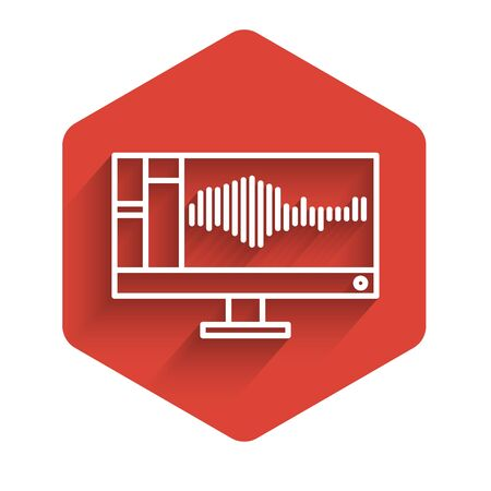 White line Sound or audio recorder or editor software on computer monitor icon isolated with long shadow. Red hexagon button. Vector Illustration