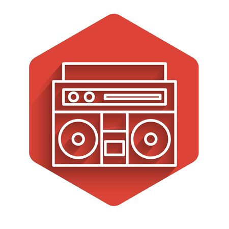 White line Home stereo with two speakers icon isolated with long shadow. Music system. Red hexagon button. Vector Illustration