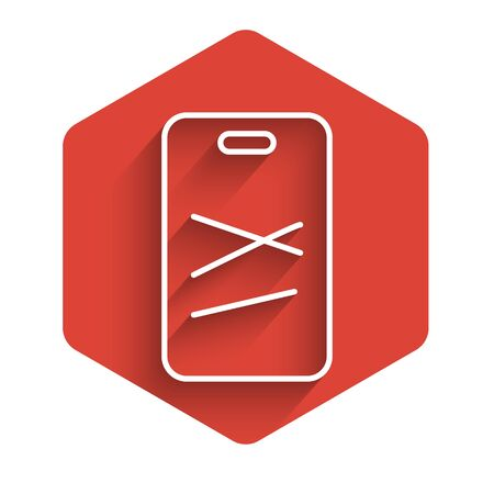 White line Cutting board icon isolated with long shadow. Chopping Board symbol. Red hexagon button. Vector Illustration