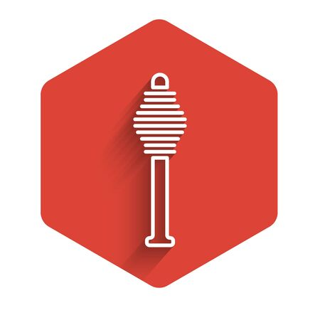 White line Honey dipper stick icon isolated with long shadow. Honey ladle. Red hexagon button. Vector Illustration