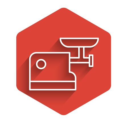 White line Kitchen meat grinder icon isolated with long shadow. Red hexagon button. Vector Illustration Stock Illustratie