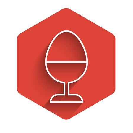 White line Chicken egg on a stand icon isolated with long shadow. Red hexagon button. Vector Illustration