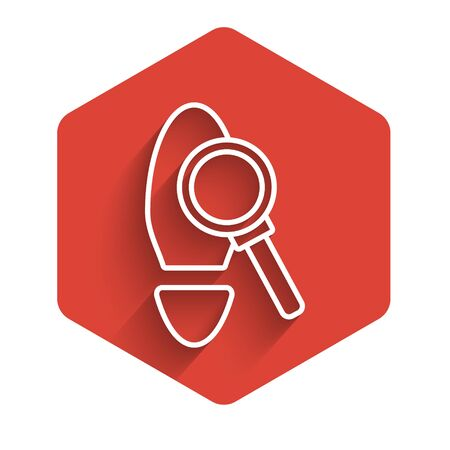 White line Magnifying glass with footsteps icon isolated with long shadow. Detective is investigating. To follow in the footsteps. Red hexagon button. Vector Illustration