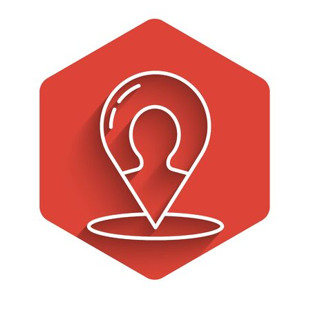 White line Map marker with a silhouette of a person icon isolated with long shadow. GPS location symbol. Red hexagon button. Vector Illustration Stock Illustratie