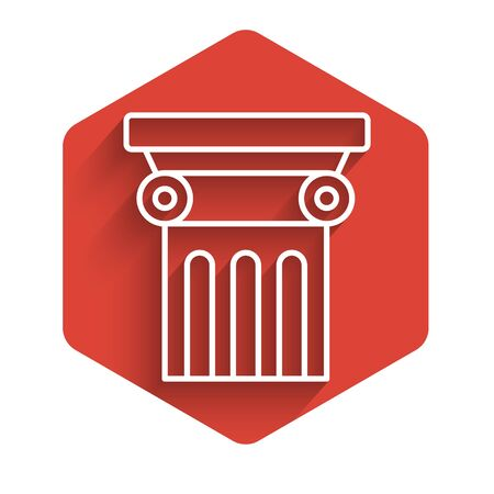 White line Law pillar icon isolated with long shadow. Red hexagon button. Vector Illustration Archivio Fotografico - 136865919
