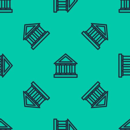 Blue line Courthouse building icon isolated seamless pattern on green background. Building bank or museum. Vector Illustration Archivio Fotografico - 136865934