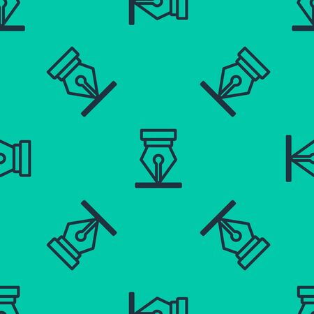 Blue line Fountain pen nib icon isolated seamless pattern on green background. Pen tool sign. Vector Illustration