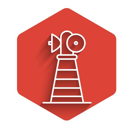 White line Antenna icon isolated with long shadow. Radio antenna wireless. Technology and network signal radio antenna. Red hexagon button. Vector Illustration