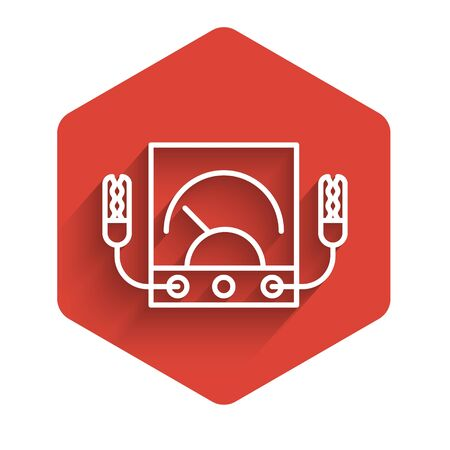 White line Ampere meter, multimeter, voltmeter icon isolated with long shadow. Instruments for measurement of electric current. Red hexagon button. Vector Illustration Vector Illustration