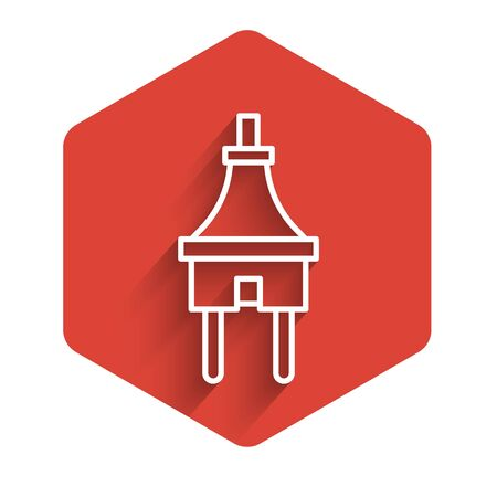 White line Electric plug icon isolated with long shadow. Concept of connection and disconnection of the electricity. Red hexagon button. Vector Illustration