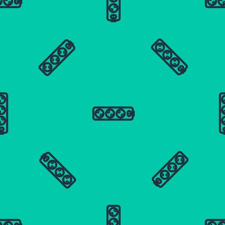 Blue line Electric extension cord icon isolated seamless pattern on green background. Power plug socket. Vector Illustration