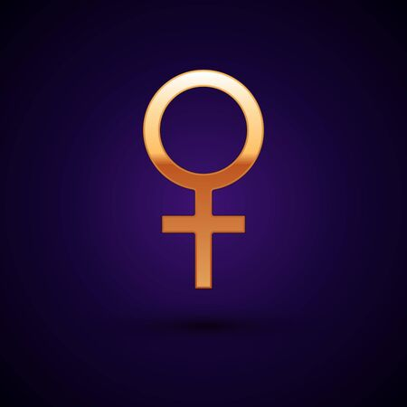 Gold Female gender symbol icon isolated on dark blue background. Venus symbol. The symbol for a female organism or woman.  Vector Illustration