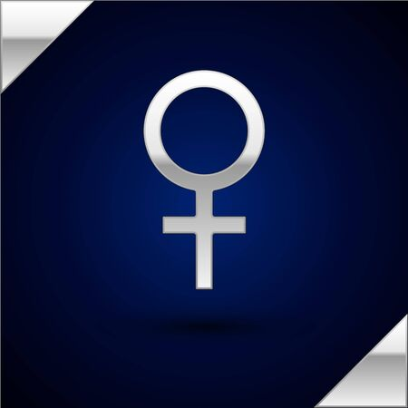 Silver Female gender symbol icon isolated on dark blue background. Venus symbol. The symbol for a female organism or woman.  Vector Illustration