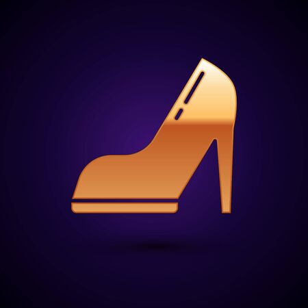 Gold Woman shoe with high heel icon isolated on dark blue background.  Vector Illustration