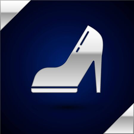Silver Woman shoe with high heel icon isolated on dark blue background. Vector Illustration Stock Illustratie