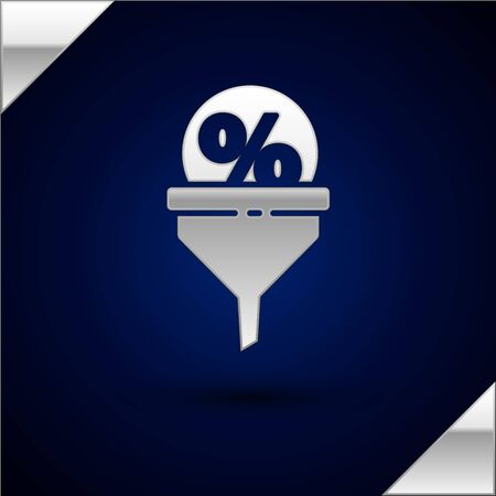 Silver Lead management icon isolated on dark blue background. Funnel with discount percent. Target client business concept. Vector Illustration