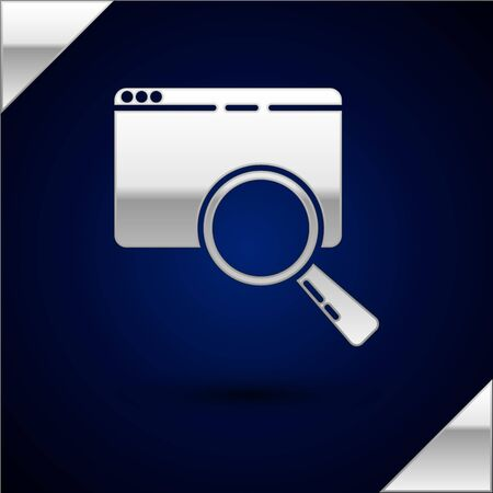 Silver Search in a browser window icon isolated on dark blue background. Vector Illustration Illustration