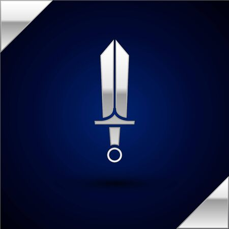 Silver Sword for game icon isolated on dark blue background. Vector Illustration