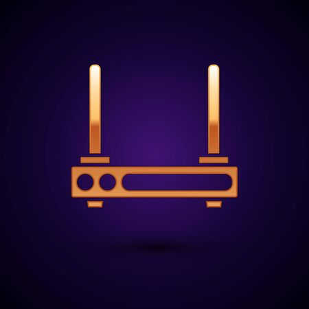 Gold Router and wifi signal symbol icon isolated on dark blue background. Wireless modem router. Computer technology internet. Vector Illustration Illustration