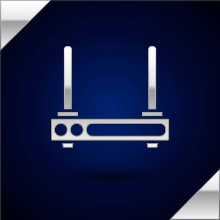 Silver Router and wifi signal symbol icon isolated on dark blue background. Wireless modem router. Computer technology internet. Vector Illustration