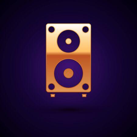 Gold Stereo-Lautsprechersymbol auf dunkelblauem Hintergrund isoliert. Lautsprecher des Soundsystems. Musik-Symbol. Musikalische Säulenlautsprecher-Bassausrüstung. Vektorillustration