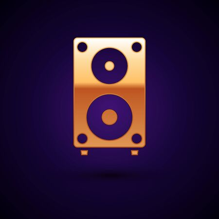 Gold Stereo speaker icon isolated on dark blue background. Sound system speakers. Music icon. Musical column speaker bass equipment. Vector Illustration