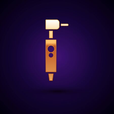 Gold Tooth drill icon isolated on dark blue background. Dental handpiece for drilling and grinding tools. Vector Illustration