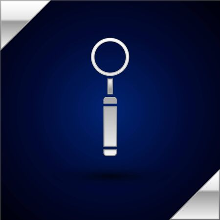 Silver Dental inspection mirror icon isolated on dark blue background. Tool dental checkup. Vector Illustration